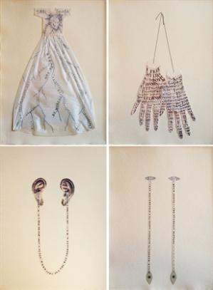 lesley-dill-poetic-body-poem-dress-of-circulation-poem-gloves-poem-ears-poem-eyes-full-set-of-4-prints-prints and multiples